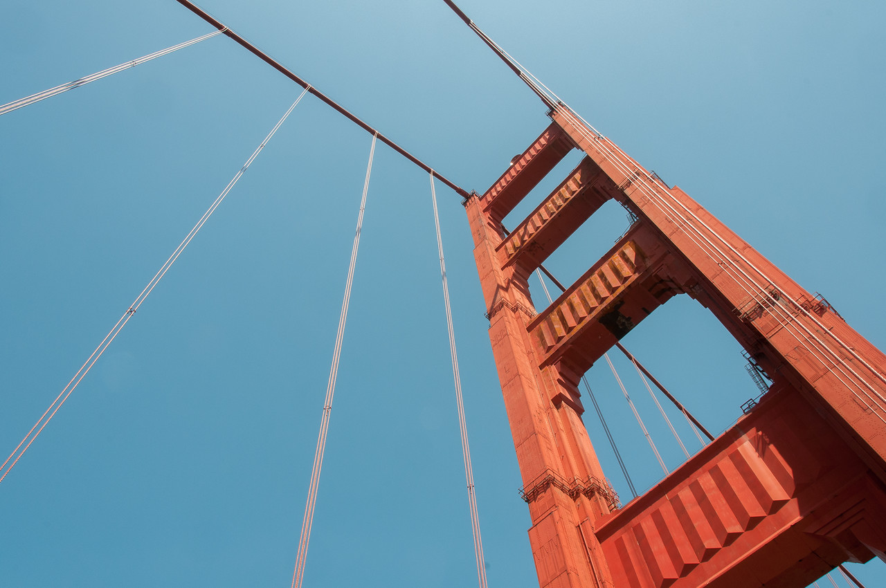 Looking up the tower from the walkway in Golden Gate Bridge, San Francisco, California