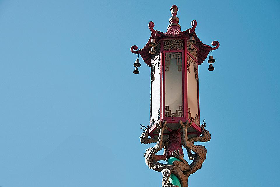 Traditional Chinese lamp at Chinatown, San Francisco, California