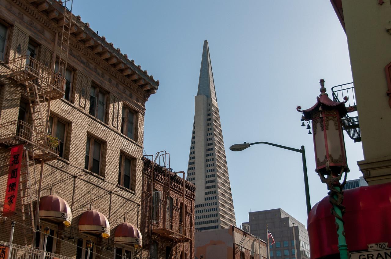 Transamerica Pyramid visible from Chinatown in San Francisco, California
