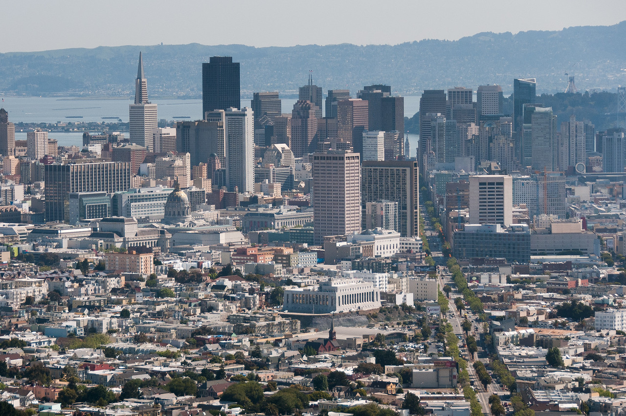 Aerial view of San Francisco skyline in California