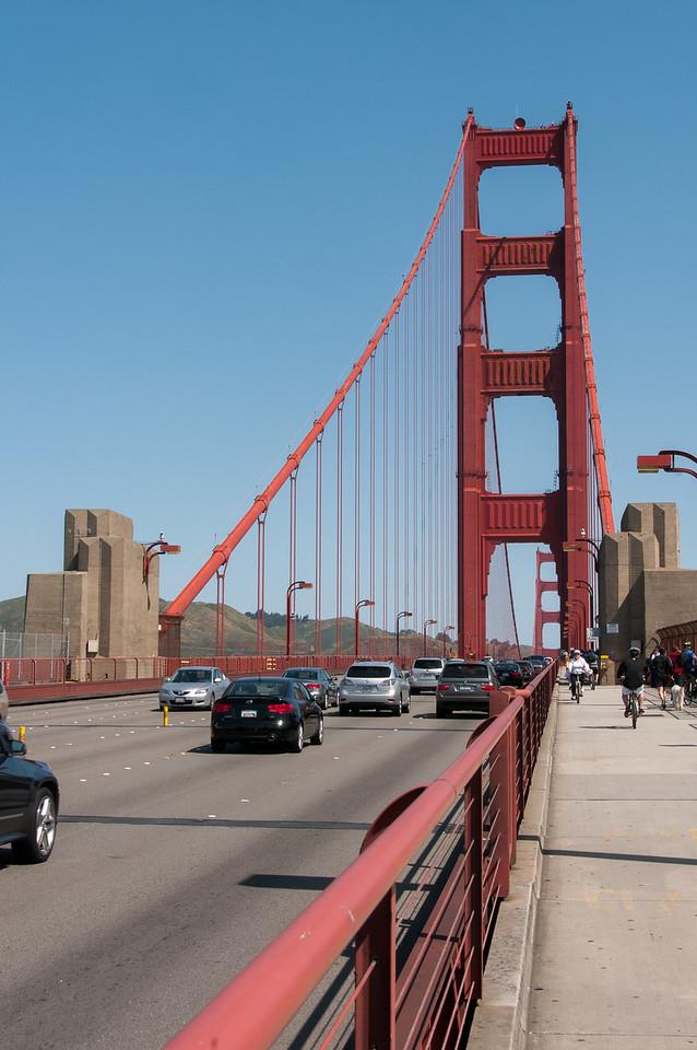 View from the bike lane in Golden Gate Bridge, San Francisco, California