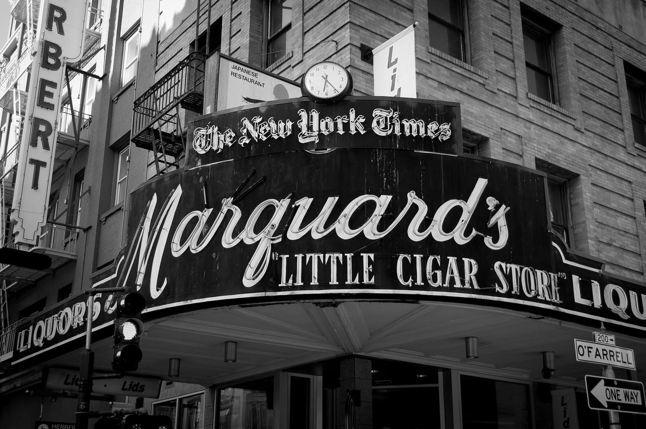 Sign outside cigar shop in San Francisco, California