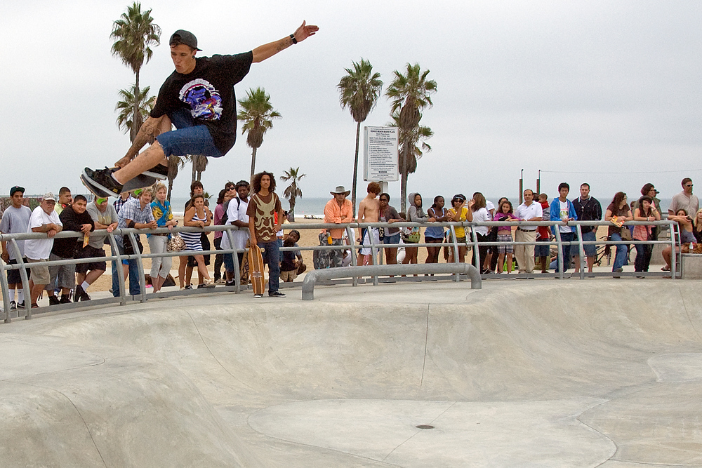 Skateboarder catching some air in Venice Beach, California