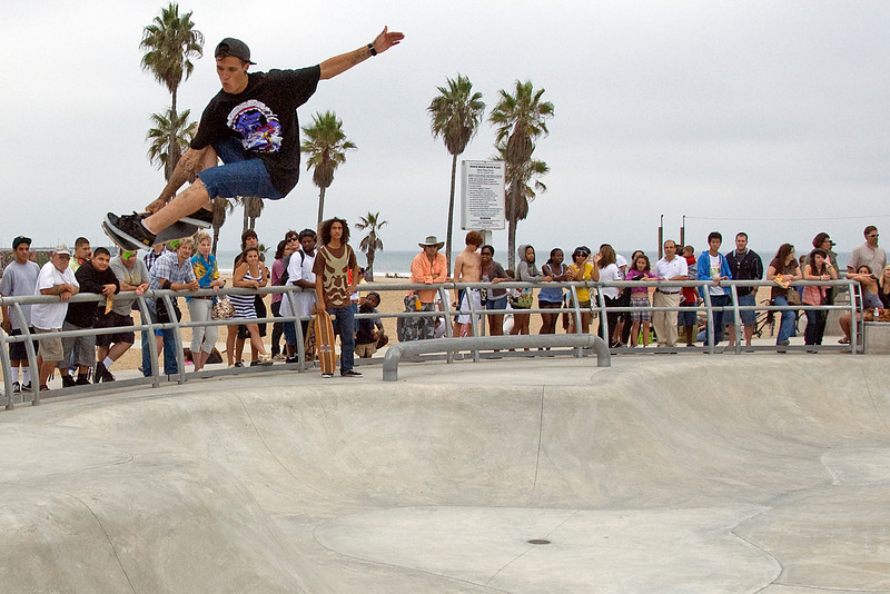 Spectators on Venice Beach Skater Park in California
