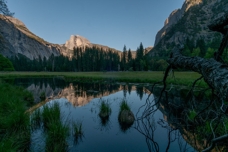 El Capitan as seen from the Merced River meadows in Yosemite National Park