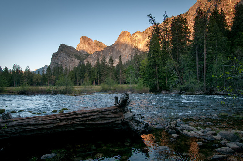 Yosemite Valley as seen from across the Merced River in California