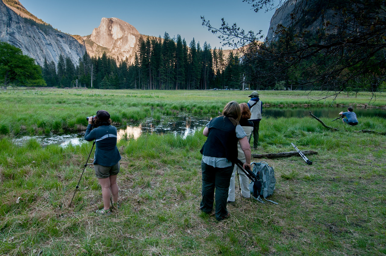 Photographers shooting the Yosemite Valley from the meadows - California