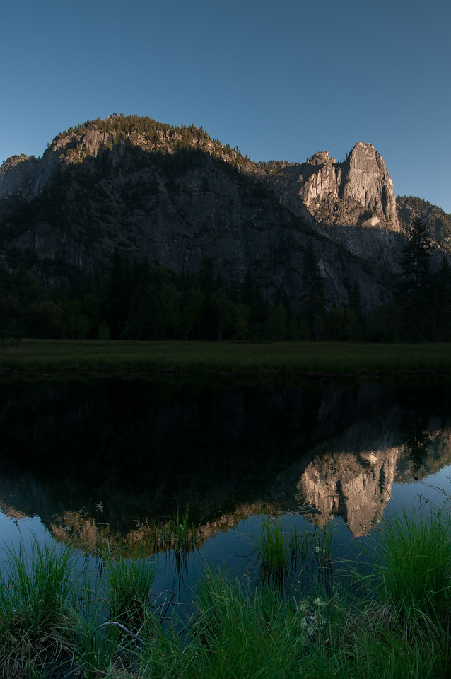 View of the Yosemite Valley from the Merced River meadows in California