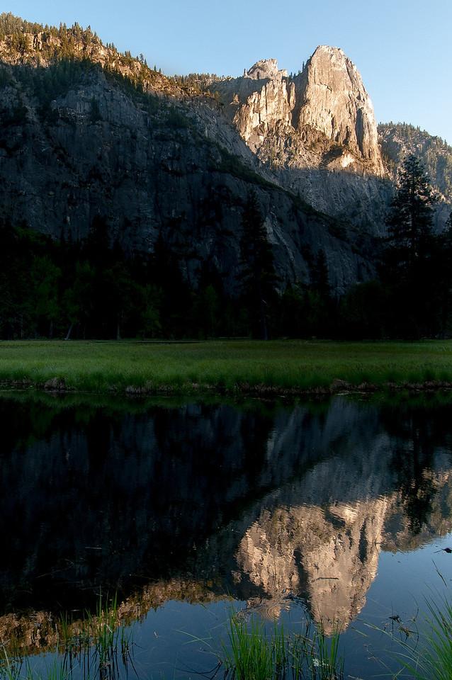 El Capitan from Merced River meadows in Yosemite National Park