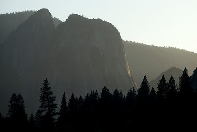 Silhouette of rock formation in Yosemite National Park, California, USA