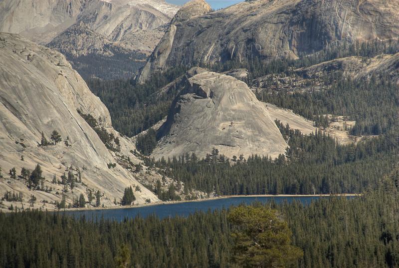 Sierra Nevada mountain range and Tenaya Lake in Yosemite National Park