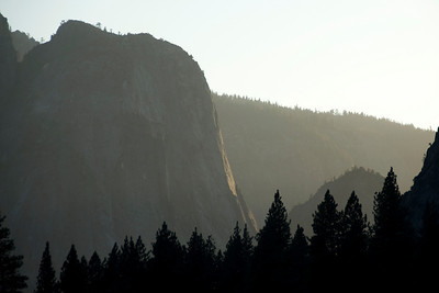 Silhouette of rock formation in Yosemite National Park in California, USA