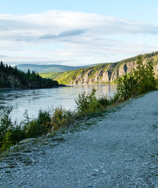 Strolling the Waterfront Trail in Dawson City is a great way to exercise on a long, road trip.