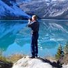 Alan Hull photographs at Bow Lake in the Canadian Rockies
