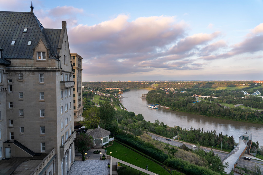 Sunset over North Saskatchewan River from the Fairmont Hotel Macdonald