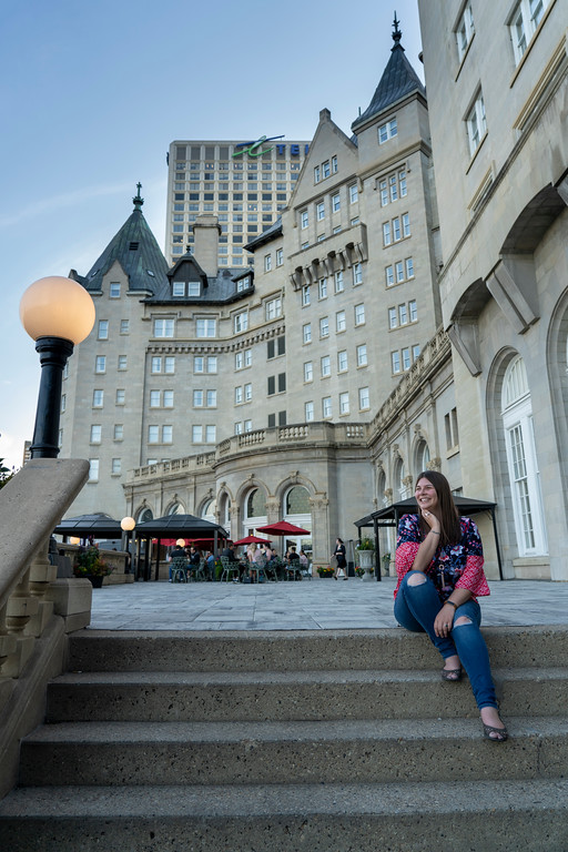 Amanda on the steps of the Fairmont Hotel Macdonald