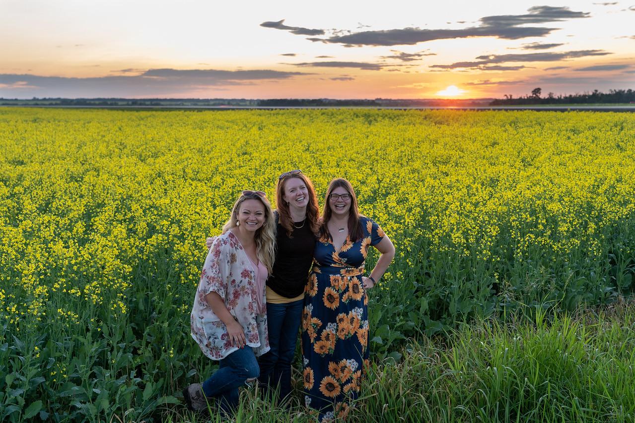 Bloggers in a canola field in Alberta
