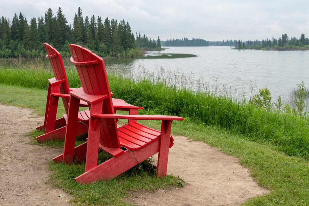 Parks Canada red chairs at Elk Island National Park