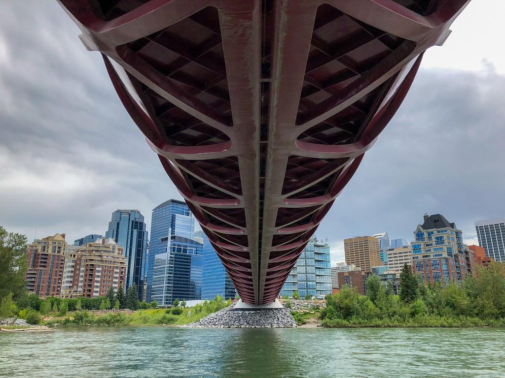 Floating under the Peace Bridge in Calgary