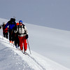 Sheila leading the way at CAmpbell Icefield
