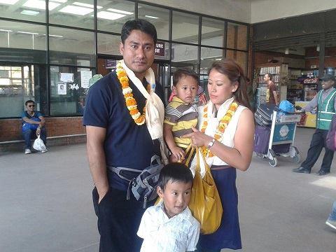 Malla family at Kathmandu airpoprt - Jaam Jaam lets go !