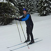 Lee the snow boarder is trying for the first time ever to ski on skinny (cross country) skis