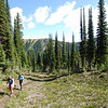 starting hike with Lili Lambert<br /> towards Mount McCrae  BC<br /> Height: 1907 m (6257 ft) <br /> Location: 57:37:01-125:32:00   57.61690-125.53330   10V 348684 6388886  <br /> NAD27: 10V 348678 6388674