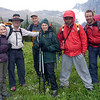 This motley crew left the Chalet around 9AM to climb to the Icefield Col<br /> Dixie, Bruce, Bernie, Glennis, Yosef, Peter