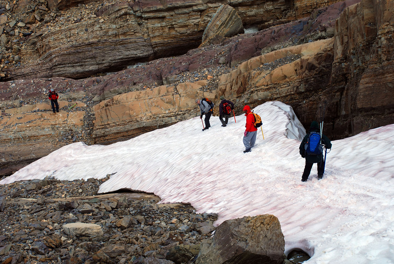 we glissaded small patches of snow - bring an ice axe