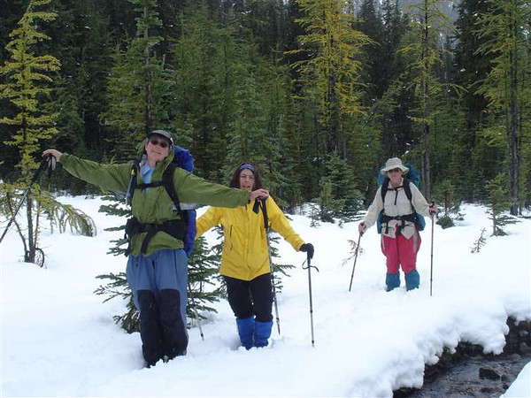 Marg, Jane and Connie... hiking thru the snow on Sept 12th