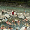 Well deserved swim in the hot pools at Whiteswan Lake Provincial Park
