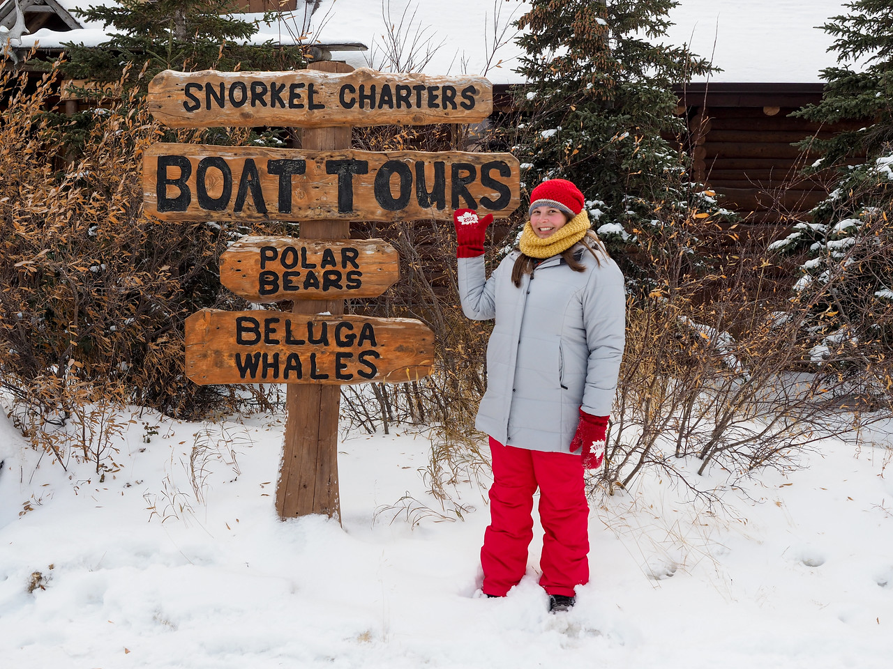 Amanda with a sign in Churchill