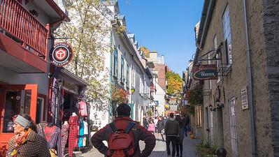 Shopping in Petit-Champlain in autumn