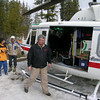 Heli pilot Don McTighe does a heli briefing before lift off