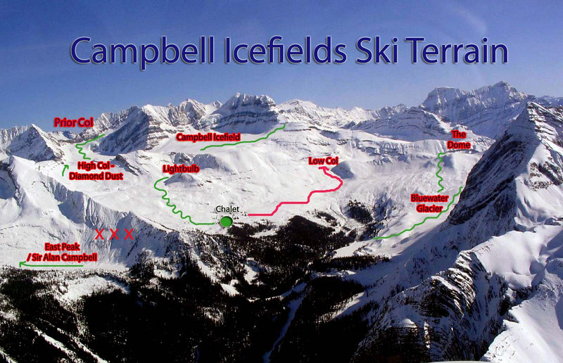 Aerial view of the front side ski terrain