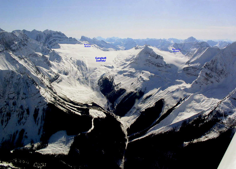 View into Campbell Icefield from the Valenciennes River