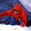 practicing going down Crevasse while we're stuck because of bad visibility, Therese Robets