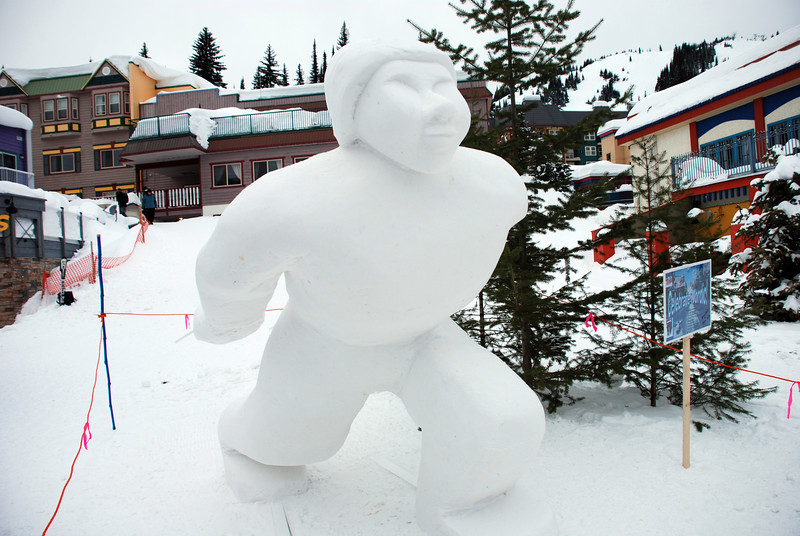Snow Carving - XC Skier by Ginny Hall