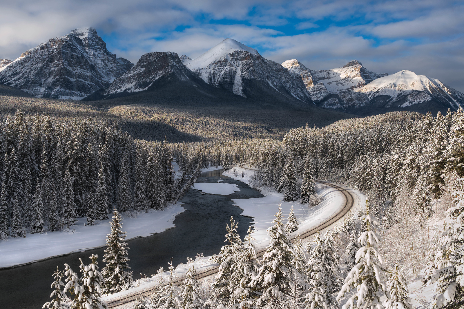 Taking the train in the Rocky Mountains of Alberta in Canada is an adventure