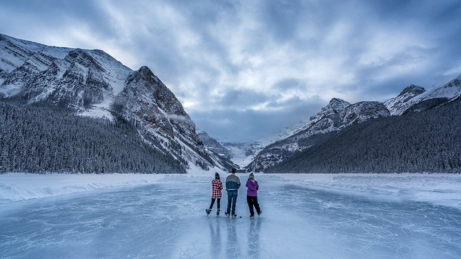 Pond hokey on Lake Louise in Banff National Park, Alberta