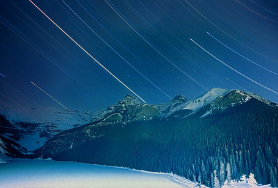 star trails over Lake Louise