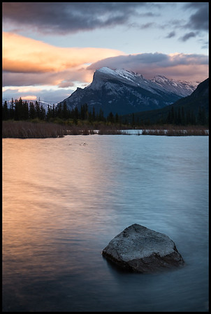 Mt Rundle at sunset, Vermilion Lakes