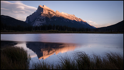 Last light on Mt Rundle, Vermilion Lakes