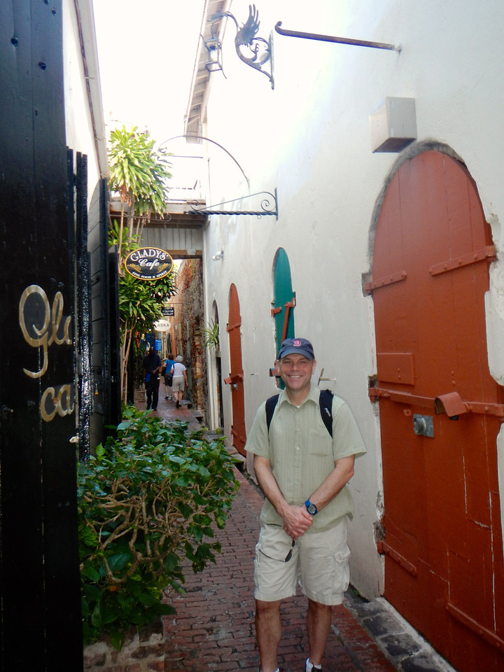 Having fun wandering the cobblestone streets of Charlotte Amalie, St. Thomas