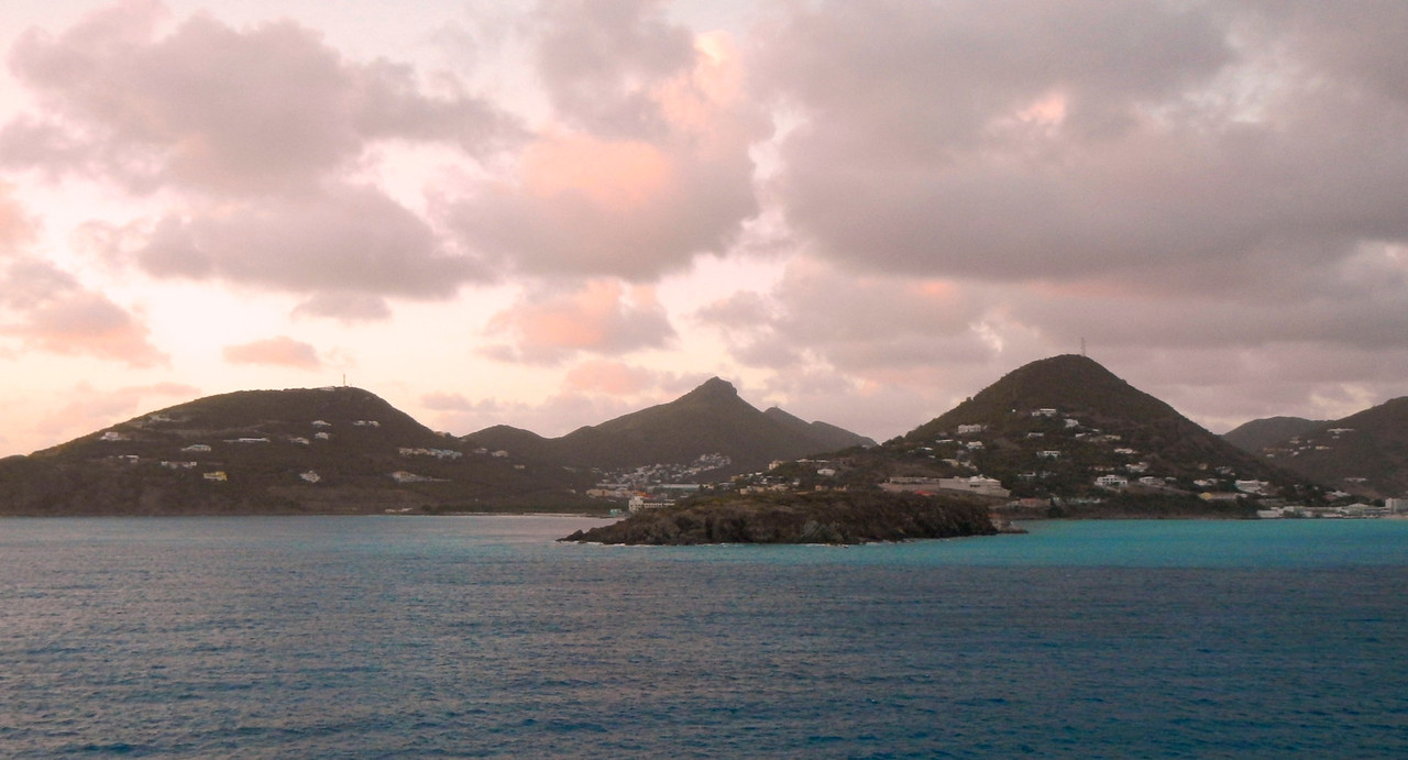 Sunset on St. Maarten as our ship leaves port.