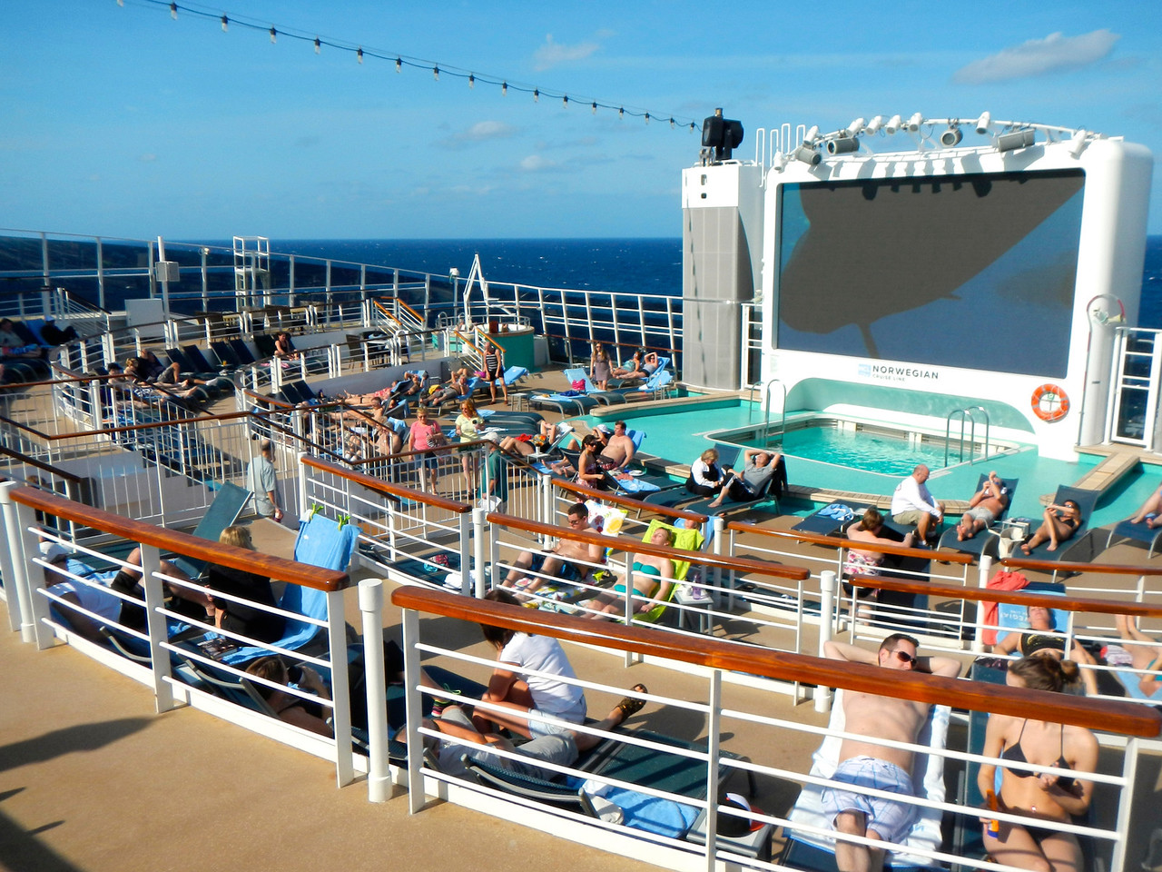Spice H2O beach club at the aft of Norwegian Epic