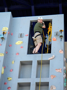 Michael's turn on the rappelling wall!