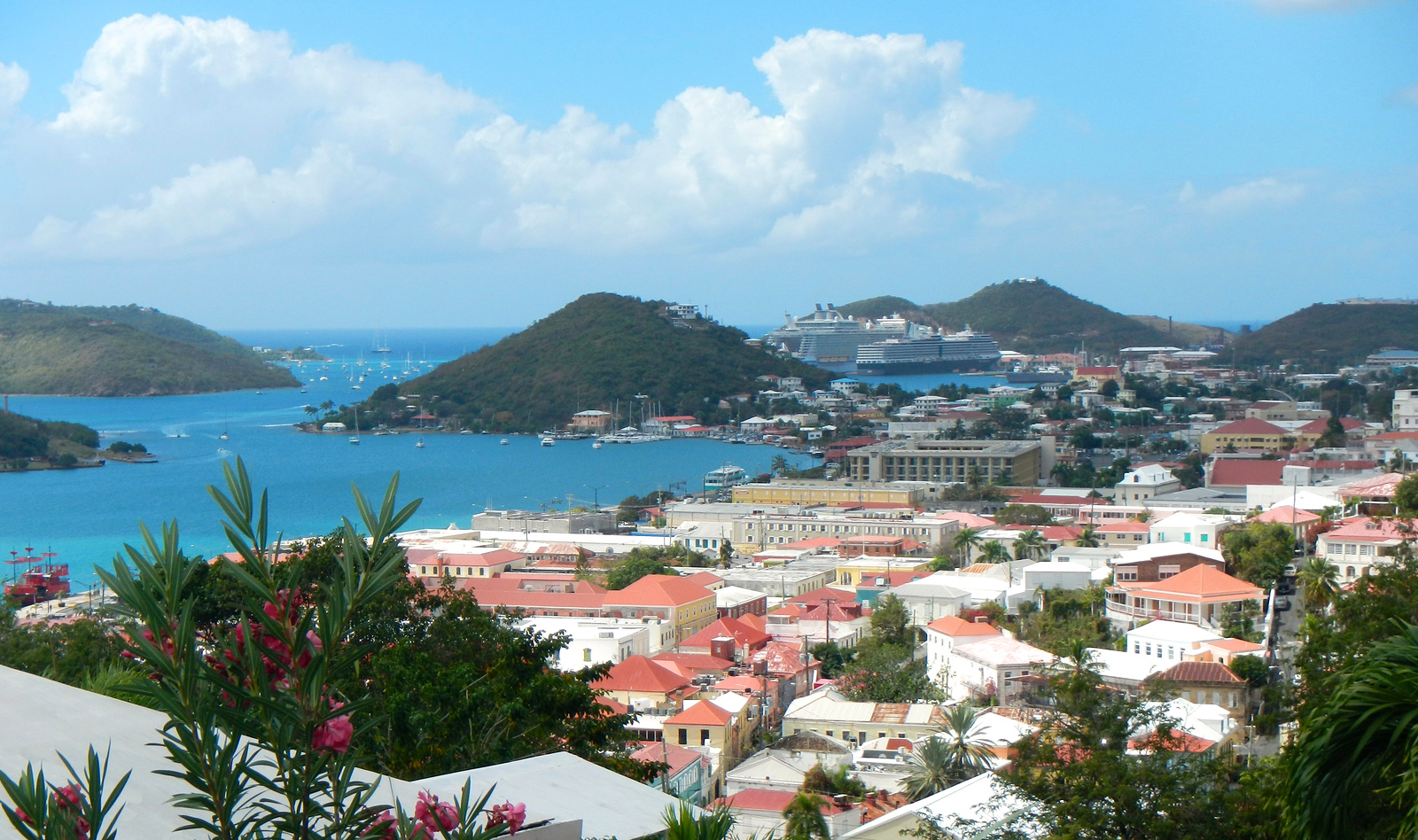 Beautiful view of Charlotte Amalie and Crown Bay from Government Hill.