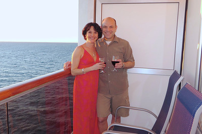 Celebrating year 17 on our balcony onboard Carnival Dream!