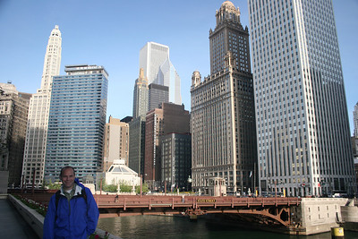 Along the Chicago River...Mike's favorite building is the one with 3 domes on the right.